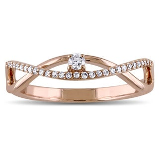 Miadora 14k Rose Gold 1/6ct TDW Diamond Twist Promise Ring (G-H, SI1-SI2)