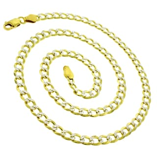 .925 Sterling Silver Goldplated Solid Cuban Curb Link Diamond-cut ITProLux Necklace Chain