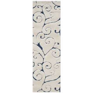 Safavieh Florida Shag Scrollwork Cream/ Blue Runner (2'3 x 9')