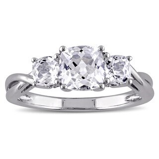 Miadora 10k White Gold 3-Stone Cushion Shape Created White Sapphire and Diamond Engagement Ring (More options available)