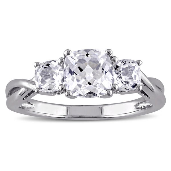 Miadora 10k White Gold 3-Stone Cushion Shape Created White Sapphire and Diamond Engagement Ring
