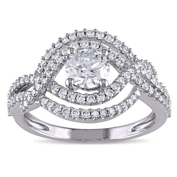 Miadora Signature Collection 10k White Gold 1ct TDW Diamond Infinity EngagementRing