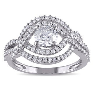 Miadora Signature Collection 10k White Gold 1ct TDW Diamond Infinity EngagementRing