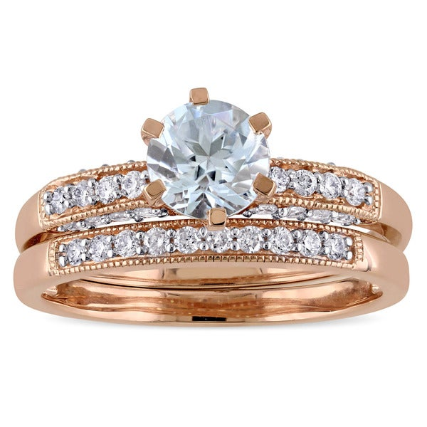Miadora Signature Collection 10k Rose Gold 1/3ct TDW Diamond and Aquamarine Bridal Ring Set (G-H, I2