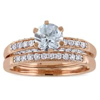 Miadora Signature Collection 10k Rose Gold 1/3ct TDW Diamond and Aquamarine Bridal Ring Set (G-H, I2