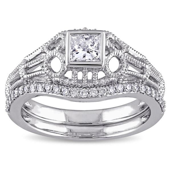 Miadora Signature Collection 14k White Gold 1/2ct TDW Diamond Vintage Bridal Ring Set