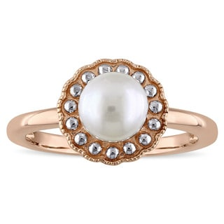 Miadora 10k Rose Gold 2-Tone Cultured Freshwater Pearl Ring (6.5-7 mm)