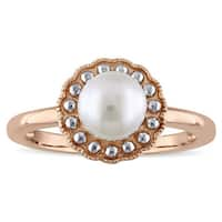 Miadora 10k Rose Gold 2-Tone Cultured Freshwater Pearl Ring (6.5-7 mm) - White