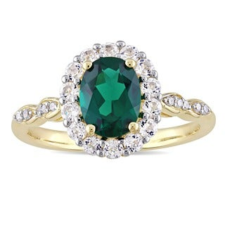 Miadora 14k Yellow Gold Created Emerald, White Topaz and Diamond Accent Vintage Halo Ring