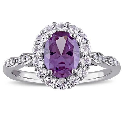 Miadora 14k White Gold Created Alexandrite White Topaz and Diamond Accent Vintage Halo Ring - Purple