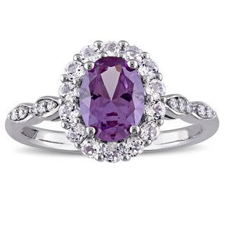 Miadora 14k White Gold Created Alexandrite White Topaz and Diamond Accent Vintage Halo Ring - Purple