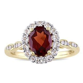 Miadora 14k Yellow Gold Garnet, White Toapz and Diamond Accent Vintage Halo Ring