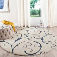 Safavieh Florida Shag Scrollwork Elegance Cream/ Blue Area Rug - 5' Round