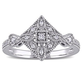 Miadora 10k White Gold 1/8ct TDW Diamond Vintage Ring