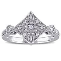 Miadora 10k White Gold 1/8ct TDW Diamond Vintage Ring