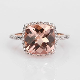 Miadora Signature Collection 14k Rose Gold 1/10ct TDW Diamond and Morganite Ring (G-H, I1)