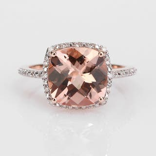 Miadora Signature Collection 14k Rose Gold 1/10ct TDW Diamond and Morganite Ring (G-H, I1-I2)|https://ak1.ostkcdn.com/images/products/12103289/P18965643.jpg?impolicy=medium