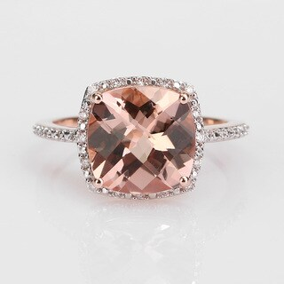 Miadora Signature Collection 14k Rose Gold 1/10ct TDW Diamond and Morganite Ring (G-H, I1-I2)