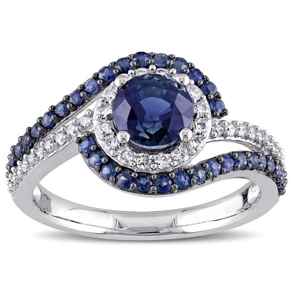 Miadora Signature Collection 14k White Gold 1/4ct TDW Diamond and Sapphire Swirl Ring