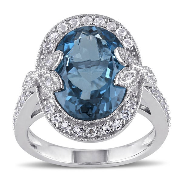 299b3f766 Miadora Sterling Silver London Blue and White Topaz with Diamond Accent  Vintage Ring