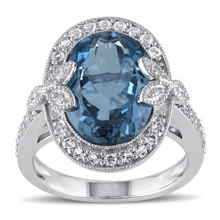 Miadora Sterling Silver London Blue and White Topaz with Diamond Accent Vintage Ring