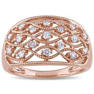 Miadora 14k Rose Gold 1/3ct TDW Diamond Filigree Lattice Ring