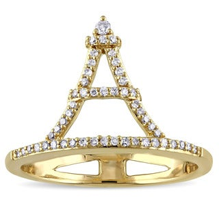 Miadora 14k Yellow Gold 1/6ct TDW Diamond Eiffel Tower Ring