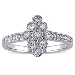 Miadora 14k White Gold 1/4ct TDW Diamond Circles Design Ring