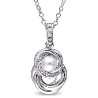 Miadora Sterling Silver Cultured Freshwater Pearl and Diamond Swirl Necklace (4-4.5 mm)