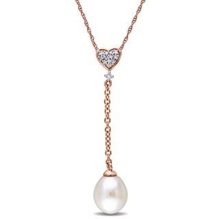 Miadora 10k Rose Gold Cultured Freshwater Pearl and Diamond Accent Heart Lariat Necklace (8-8.5 mm)