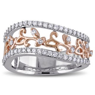 Miadora Signature Collection 14k 2-Tone Rose and White Gold 1/2ct TDW Diamond Leaf Ring