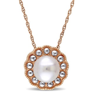 Miadora 10k Rose Gold Cultured Freshwater Pearl Necklace (6.5-7 mm)
