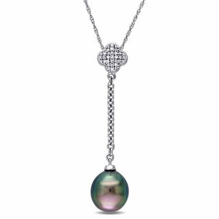 Miadora 10k White Gold 1/10ct TDW Diamond and Tahitian Pearl Quatrefoil Necklace (G-H, I2-I3)(8-8.5 mm)