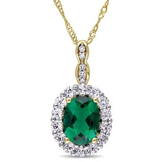Miadora 14k Yellow Gold Created Emerald, White Topaz and Diamond Accent Vintage Halo Necklace