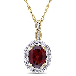 Miadora 14k Yellow Gold Oval Garnet, White Topaz and Diamond Accent Vintage Halo Necklace