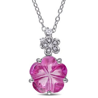 Miadora Sterling Silver Pink Topaz With Diamond Accent Necklace