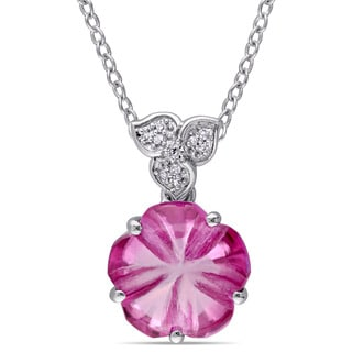 Miadora Sterling Silver Pink Topaz with Diamond Accent Flower Necklace