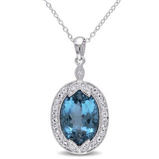 Miadora Sterling Silver London Blue and White Topaz with Diamond Accent Vintage Halo Necklace
