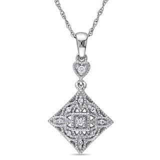 Miadora 10k White Gold Diamond Accent Vintage Square Heart Necklace