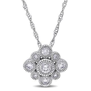 Miadora 14k White Gold 1/3ct TDW Diamond Circles Necklace