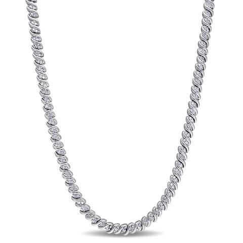 Miadora Sterling Silver 1ct TDW Diamond Braided Necklace