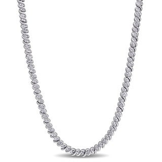 Miadora Sterling Silver 1ct TDW Diamond Braided Necklace