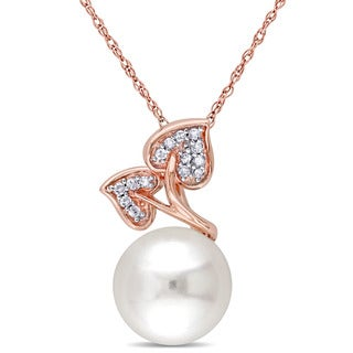 Miadora 10k Rose Gold Cultured Freshwater Pearl and Diamond Leaf Necklace (9.5-10 mm)