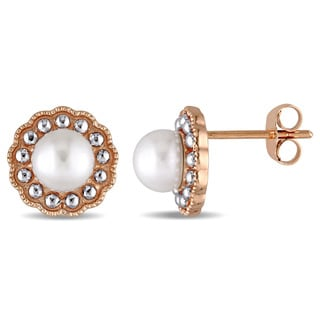 Miadora 10k Rose Gold 2-Tone Cultured Freshwater Pearl Stud Earrings (5.5-6 mm)