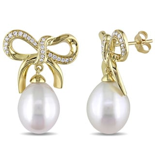 Miadora Signature Collection 14k Yellow Gold 1/4ct TDW Diamond and Pearl Bow Earrings (G-H, SI) (11-11.5 mm)