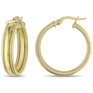 Miadora 10k Yellow Gold Vintage Edged Hoop Earrings
