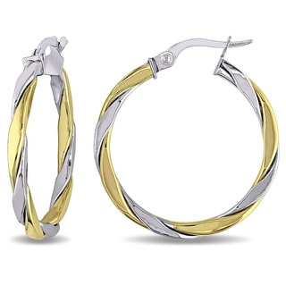Miadora Two-Tone 10k Gold Interlaced Twist Hoop Earrings