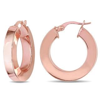 Miadora 10k Rose Gold Rounded Hoop Earrings