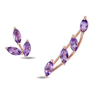 Miadora 14k Rose Gold Amethyst Mismatched Stud and Crawler Petal Earrings