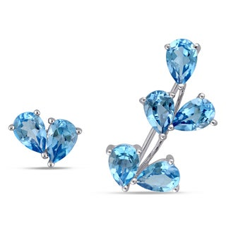 Miadora 14k White Gold Blue Topaz Mismatched Stud and Crawler Earrings